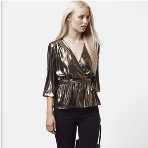Topshop Metallic Wrap Blouse